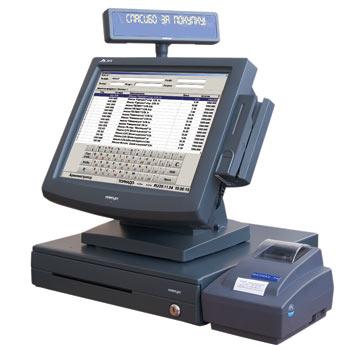 Финансовый кассовый аппарат компьютера иллюстрация вектора.